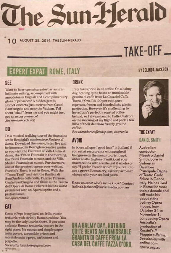 Rome Concerts (now Rome Opera Concerts) is on The Sun Herald
